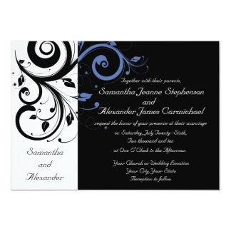 "Black White Periwinkle Swirl Wedding Invitations 5"" X 7"" Invitation Card"