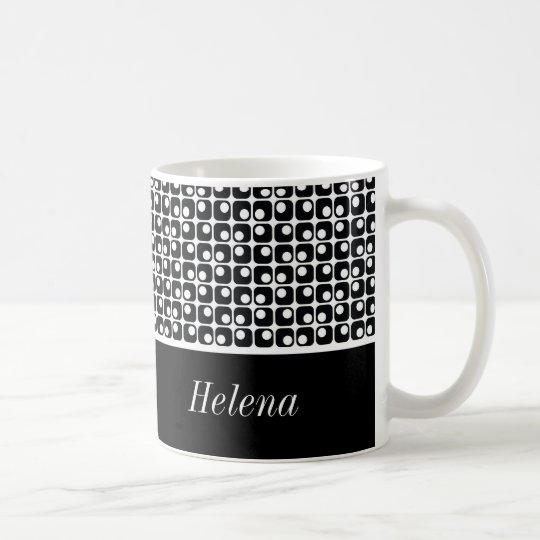 Black & White Personalised, Retro Squares Pattern Coffee