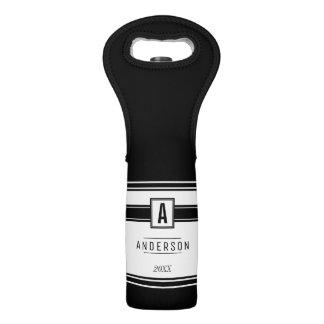 Black & White Personalized Label  - Wine Tote Bag