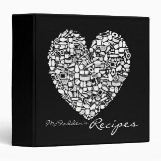 Black & White Personalized Name Recipe Binder