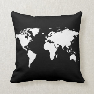 black/white personalized world-map cushion