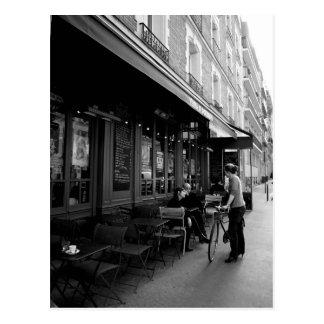 Black & White Photo of Street Cafe in Paris Postcard