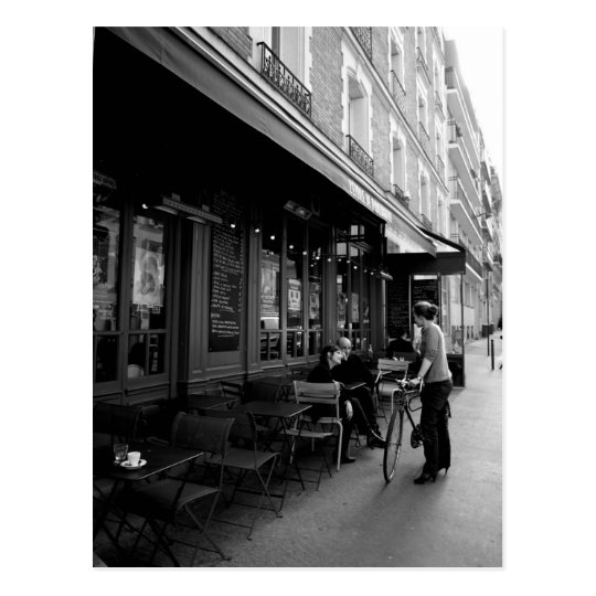 Black & White Photo of Street Cafe in