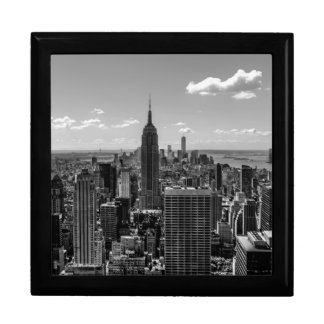 Black & White Photo of the New York City Skyline Large Square Gift Box