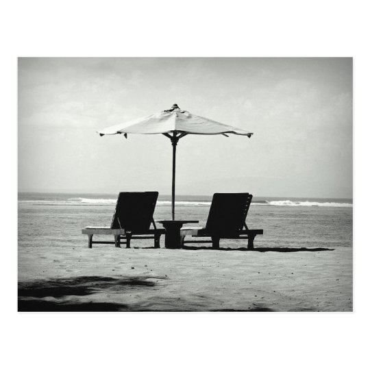 Black & white photo of two deck chairs