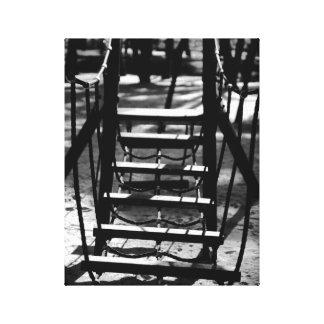 Black & White photo of wooden bridge Canvas Print