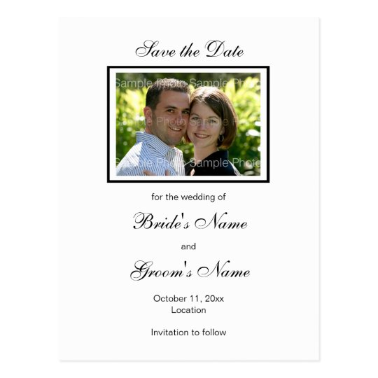Black White Photo Save the Date Postcards