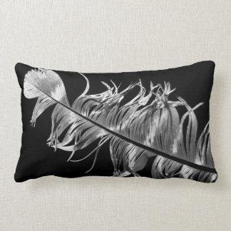 Black & White Photographic Feather Art Lumbar Cushion