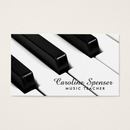 Black & White Piano Keys Music Teacher Card