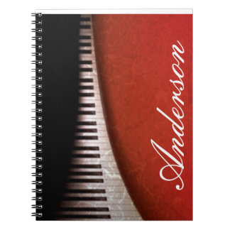 Black White Piano Keys Red Flora Pattern Print Notebook