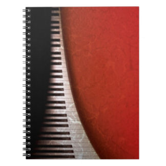 Black White Piano Keys Red Flora Pattern Print Spiral Note Books