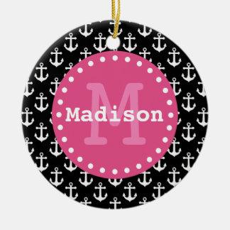 Black White Pink Anchor Pattern Monogram Christmas Ornament