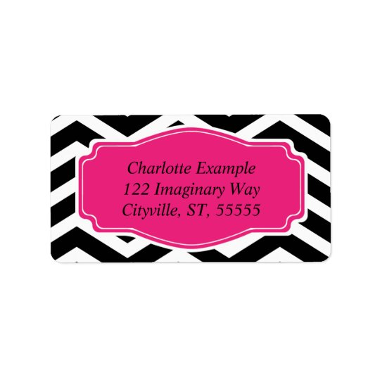 Black White Pink Chevron Personal Label