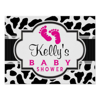 Black, White, & Pink Cowhide Baby Shower Posters