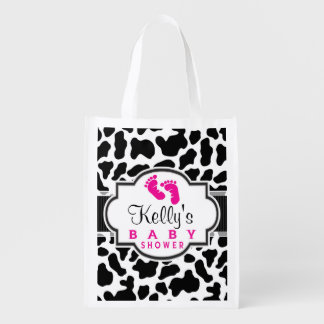 Black, White, & Pink Cowhide Baby Shower Market Tote