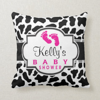 Black, White, & Pink Cowhide Baby Shower Throw Cushions