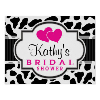 Black, White, & Pink Cowhide Bridal Shower Poster