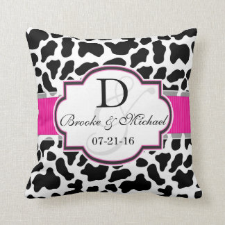 Black, White, & Pink Cowhide Wedding Cushions