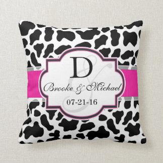 Black, White, & Pink Cowhide Wedding Cushions