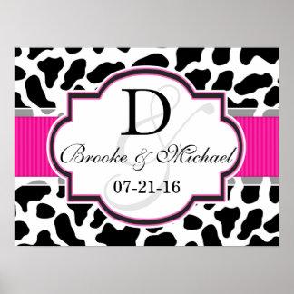 Black, White, & Pink Cowhide Wedding Posters