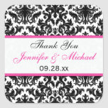 "Black White Pink Damask 1.5"" Wedding Favour Square Stickers"