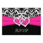 Black, White, Pink Damask & Hearts Reply Card 9 Cm X 13 Cm Invitation Card