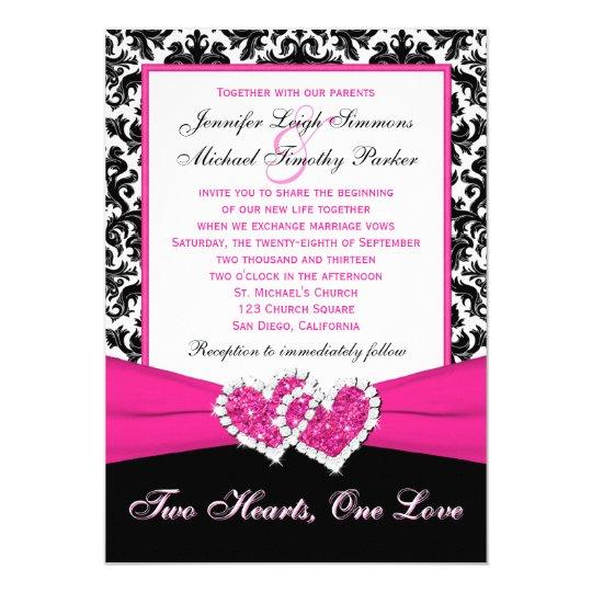 Black White Pink Damask Hearts Wedding Invitation