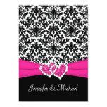 Black White Pink Damask Hearts Wedding Invitation 13 Cm X 18 Cm Invitation Card