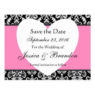 Black White Pink Damask Save Date Postcard 3