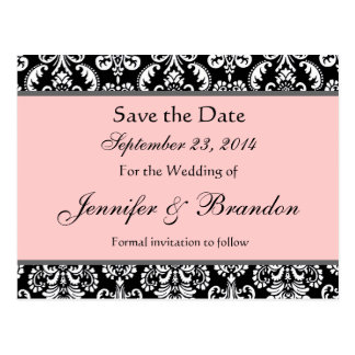 Black White Pink Damask Save The Date Postcard