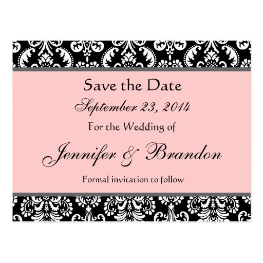 Black White Pink Damask Save The Date Postcard