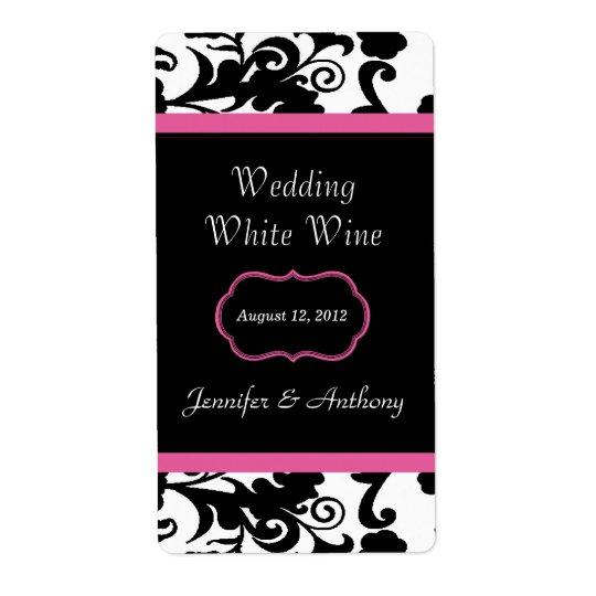 Black, White & Pink Damask Wedding Wine Labels