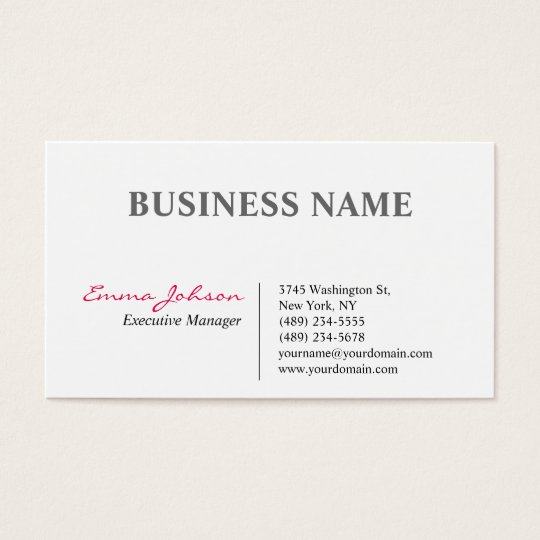 Black White Pink Elegant Modern Simple Business Card