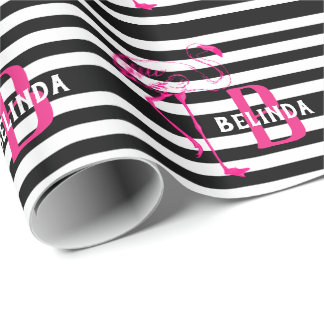 Black White Pink FLamingo Gift Monogram HER Wrapping Paper