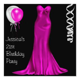 Black White Pink Formal Dress 21st Birthday 13 Cm X 13 Cm Square Invitation Card