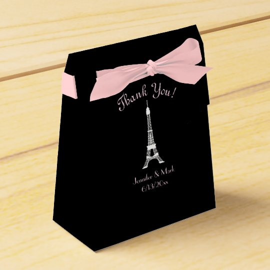 Black White Pink French Eiffel Tower Wedding Favour