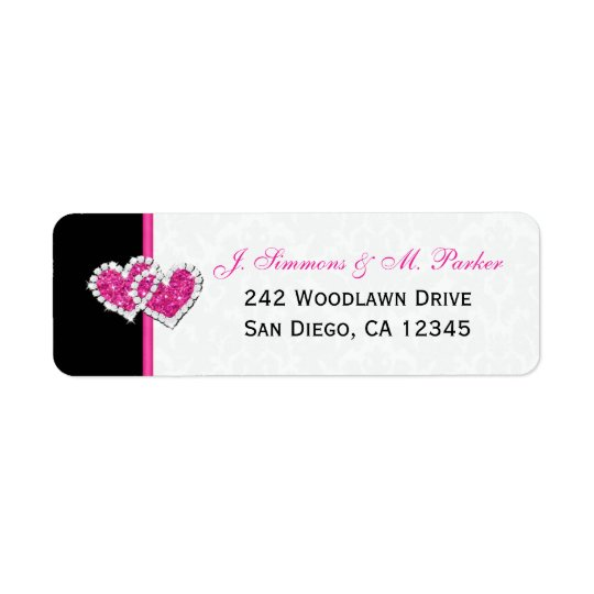 Black White Pink Hearts Return Address Label
