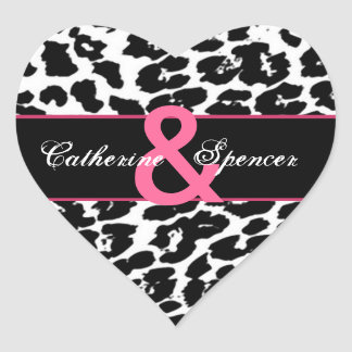 Black White Pink Leopard Wedding Heart Sticker