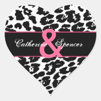 Black White Pink Leopard Wedding Heart Sticker