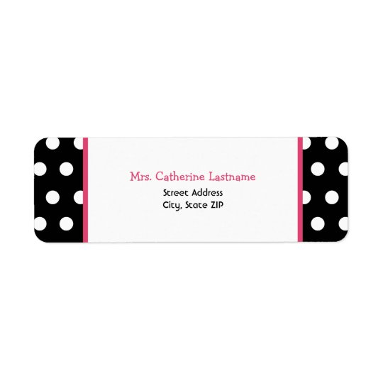 Black White & Pink Polka Dot Address Label Sticker