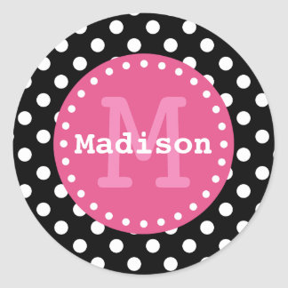 Black White Pink Polka Dots Monogram Classic Round Sticker
