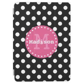 Black White Pink Polka Dots Monogram iPad Air Cover
