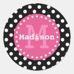 Black White Pink Polka Dots Monogram Round Sticker