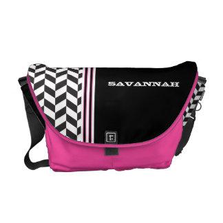 Black & White Pink Racing Stripe Messenger Messenger Bag