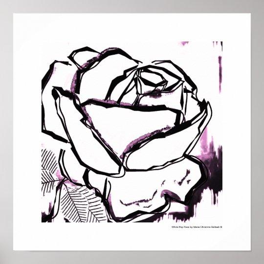 Black White Pink Rose - Pop Rose Poster