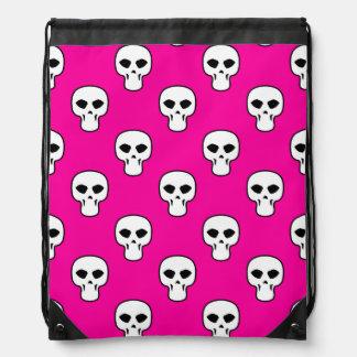 Black, White, Pink Skulls Pattern Drawstring Bag