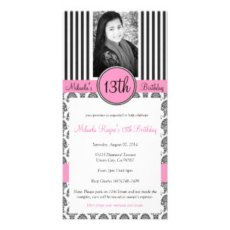 Black, White & Pink Stripe Invite Personalised Photo Card