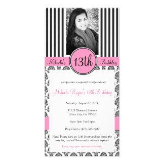 Black White Pink Stripe Invite Photo Card Template