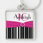 Black, White, Pink Striped 16 Keychain with Name