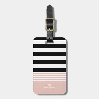 Black, White & Pink Striped Personalised Luggage Tag